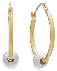 Macy's - Beaded Hoop Earrings In 10k Gold And Sterling Silver - Lyst