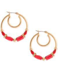 Nine West - Gold-tone Beaded Hoop Earrings - Lyst