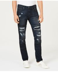 Guess - Slim-fit, Tapered Ripped Jeans - Lyst