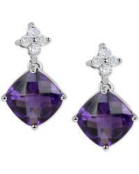 Macy's - Amethyst (4-1/2 Ct. T.w.) & Diamond (1/5 Ct. T.w.) Drop Earrings In 14k White Gold - Lyst