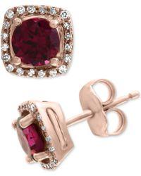 Effy Collection - Effy® Rhodolite (1-1/5 Ct. T.w.) & Diamond (1/8 Ct. T.w.) Stud Earrings In 14k Rose Gold - Lyst