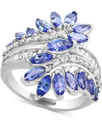 Effy Collection - Sapphire (3-1/5 Ct. T.w.) And Diamond (3/8 Ct. T.w.) Ring In 14k White Gold (also In Tanzanite) - Lyst