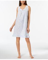 Miss Elaine - Lace-trim Ruffled-hem Nightgown - Lyst