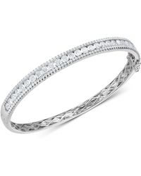 Arabella - Cubic Zirconia Bangle Bracelet In Sterling Silver - Lyst