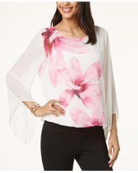 Alfani - Petite Printed Angel-sleeve Top, Created For Macy's - Lyst