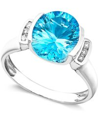Macy's - 14k White Gold Ring, Blue Topaz (3-5/8 Ct. T.w.) And Diamond Accent - Lyst