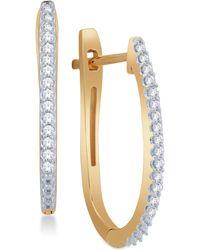 Macy's - Diamond Pavé Hoop Earrings (1/8 Ct. T.w.) In 10k Yellow Or White Gold - Lyst