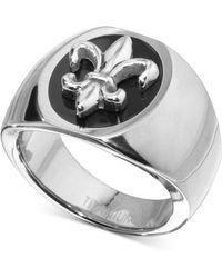 Macy's - Fleur-de-lis Statement Ring In Sterling Silver & Black Ion-plate - Lyst
