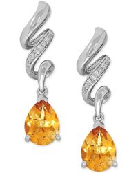 Macy's | Citrine (1-9/10 Ct. T.w.) And Diamond Accent Twist Drop Earrings In Sterling Silver | Lyst