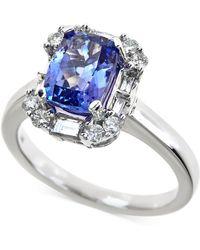Macy's - Tanzanite (2-1/5 Ct. T.w.) And Diamond (1/2 Ct. T.w.) Ring In 14k White Gold - Lyst