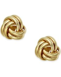 Macy's - Small Love Knot Stud Earrings In 10k Gold - Lyst