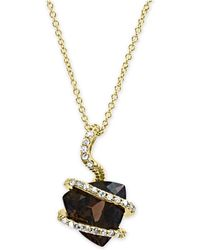 "Effy Collection - Effy® Smoky Quartz (3-1/3 Ct. T.w.) & Diamond (1/10 Ct. T.w.) 18"" Pendant Necklace In 14k Gold - Lyst"