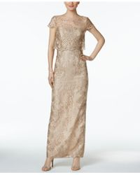 Adrianna Papell - Tiered Lace Gown - Lyst