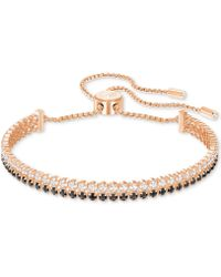Swarovski - Rose Gold-tone Clear & Jet Crystal Double-row Slider Bracelet - Lyst