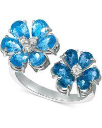 Macy's - Blue Topaz (4-1/2 Ct. T.w.) & Diamond (1/8 Ct. T.w.) Cuff Ring In 14k White Gold - Lyst