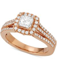 Marchesa - Celeste Halo By Certified Diamond Engagement Ring (1-1/5 Ct. T.w.) In 18k White, Yellow Or Rose Gold, Created For Macy's - Lyst