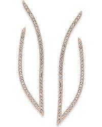 Danori - Rose Gold-tone Pavé Drop Earrings - Lyst