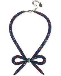 Betsey Johnson - Hematite-tone Mesh Bow Collar Necklace - Lyst