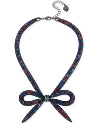 Betsey Johnson - Mesh Bow Frontal Necklace - Lyst