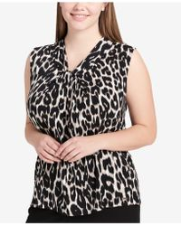 CALVIN KLEIN 205W39NYC - Plus Size Knot-neck Printed Shell - Lyst