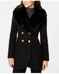 French Connection - Double-breasted Faux-fur-collar Peacoat - Lyst