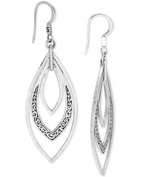 Lois Hill - Filigree Triple Marquise Drop Earrings In Sterling Silver - Lyst