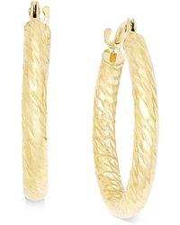Macy's - Textured Wide Hoop Earrings In 10k Gold - Lyst