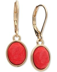 Anne Klein - Gold-tone Colored Stone Drop Earrings - Lyst