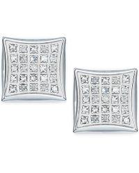 Macy's - Men's Diamond Stud Earrings In Stainless Steel (1/4 Ct. T.w.) - Lyst
