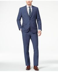 Kenneth Cole Reaction | Techni-cole Slim-fit Stretch New Blue Textured Suit | Lyst