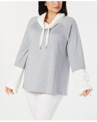 Calvin Klein - Performance Plus Size Cowl-neck Bell-sleeve Top - Lyst