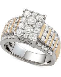 Macy's - Diamond Multi-cluster Ring (2 Ct. T.w.) In 14k Gold & White Gold - Lyst
