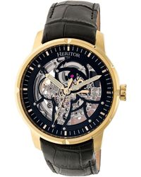 Heritor - Automatic Ryder Black & Gold & Black Leather Watches 44mm - Lyst