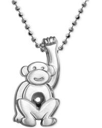 Alex Woo - Little Monkey Zodiac Pendant Necklace In Sterling Silver - Lyst