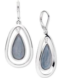 Anne Klein - Silver-tone Colored Imitation Mother-of-pearl Drop Earrings - Lyst