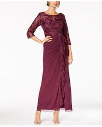 Alex Evenings - Sequined Embroidered Ruffle Gown - Lyst