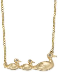 """Kate Spade - Gold-tone Pavé Duck Short Pendant Necklace, 17"""" + 3"""" Extender - Lyst"""
