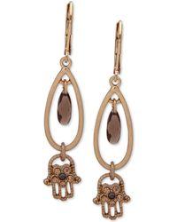 Lonna & Lilly - Gold-tone Crystal Hamsa Hand Drop Earrings - Lyst