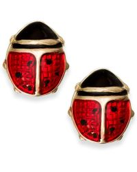 Macy's - Red Enamel Ladybug Stud Earrings In 10k Gold - Lyst
