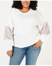 Soprano - Trendy Plus Size Faux-fur-trim Sweatshirt - Lyst