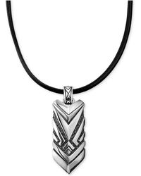 Scott Kay - Men's Black Leather Cord Chevron Pendant Necklace In Sterling Silver - Lyst