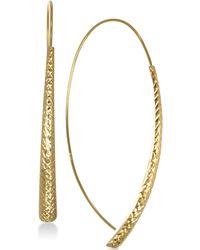 Macy's - Textured Crossover Drop Earrings In 10k Gold - Lyst
