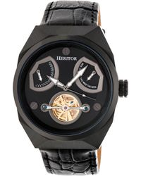 Heritor - Automatic Oxford Black Leather Watches 42mm - Lyst