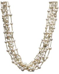 Macy's - Pearl Necklace, Sterling Silver Cultured Freshwater Pearl Multi-strand Necklace (4-1/2-6-1/2mm) - Lyst