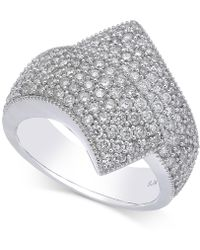Macy's - Diamond Cluster Bypass Ring (1-1/2 Ct. T.w.) In 14k White Gold - Lyst
