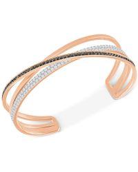 Swarovski - Rose Gold-tone Crisscross Crystal Cuff Bracelet - Lyst