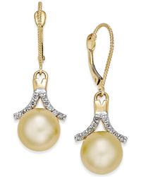 Macy's - Cultured Golden South Sea Pearl (9mm) And Diamond (1/5 Ct. T.w.) Drop Earrings In 14k Gold - Lyst