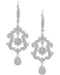 Macy's - Diamond (3/8 Ct. T.w.) Floral & Swirl Drop Earrings In Sterling Silver - Lyst