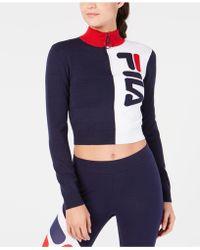 Fila - Cotton High-neck Quarter-zip Sweater - Lyst