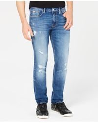 Guess - Slim-fit Tapered-leg Destructed Jeans - Lyst